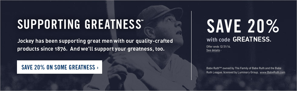 Jockey Supporting Greatness - save 20%