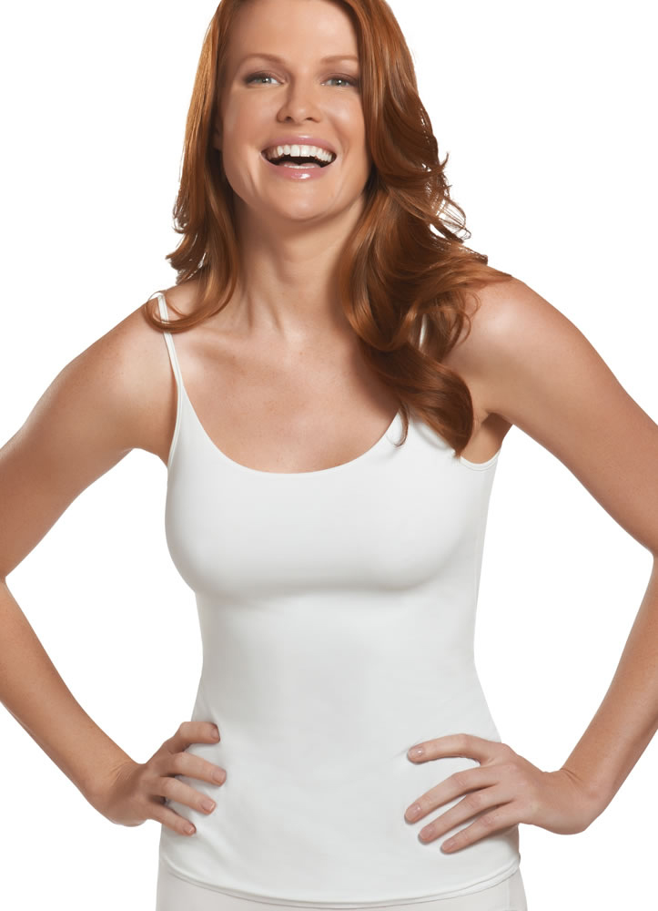 The Amoena Valetta Camisole Bra Top looks like a typical cami, but it has a built-in shelf bra with sewn-in foam padding and pockets for breast forms or removable padding, not included. Adjustable shoulder straps for the perfect fit.