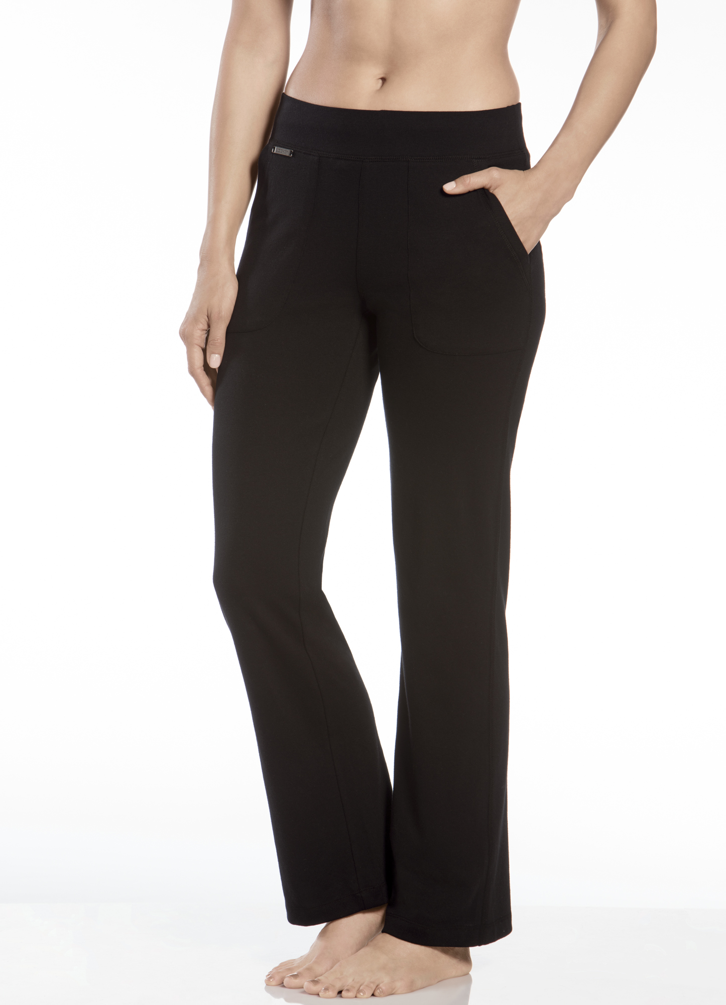 Product Features Relaxed straight-leg pant featuring wide ribbed waistband with.