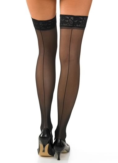 Lace Top Backseam Thigh High - 3 pair (1 of 1)