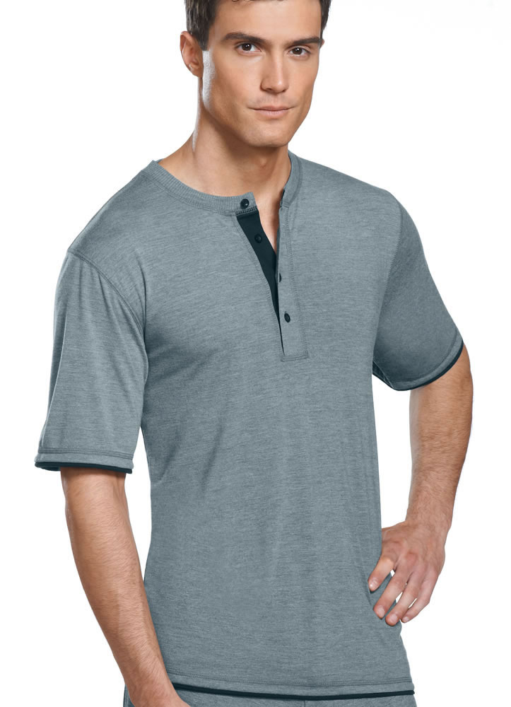 Jockey Mens Soft Knit Henley Tee Sleepwear Shirts Polyester
