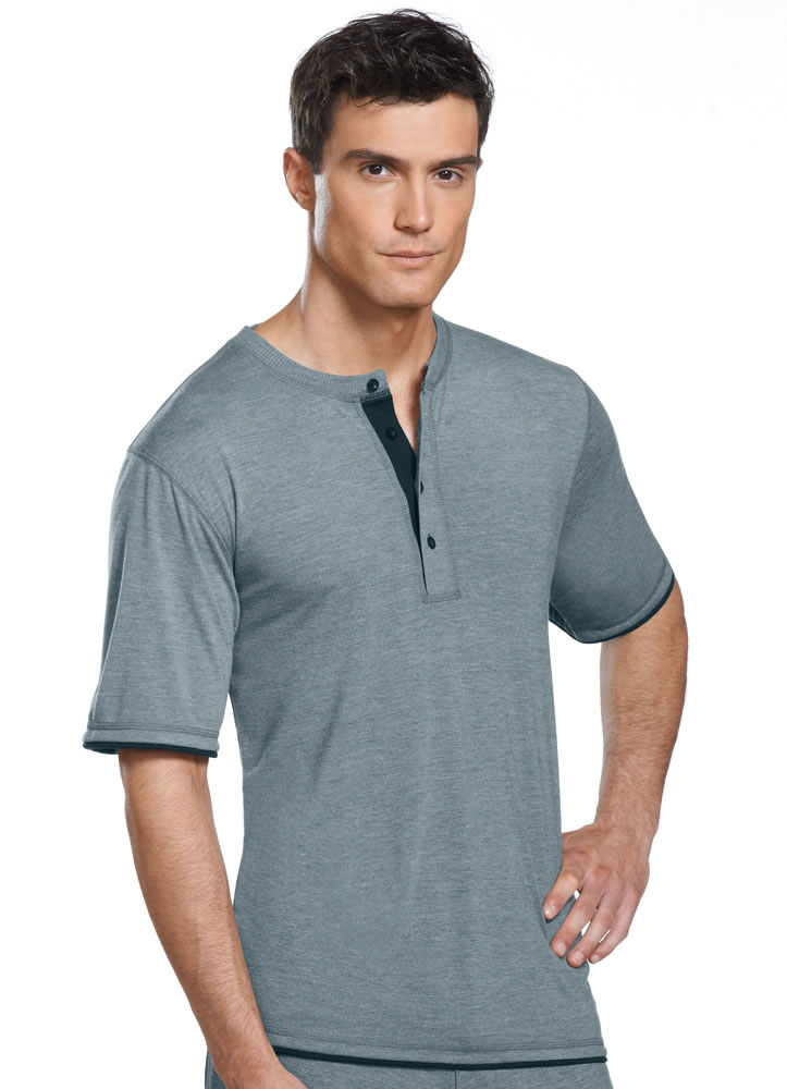 Jockey mens soft knit henley tee sleepwear shirts polyester for Polyester t shirts for men
