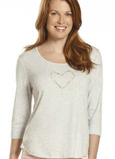 Jockey® Hearts & Flowers 3/4 Sleeve Graphic Tee