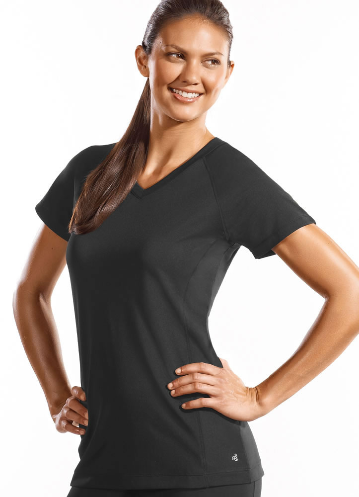 ... Womens Long and Lean V Neck Tee Activewear Shirts Polyester | eBay