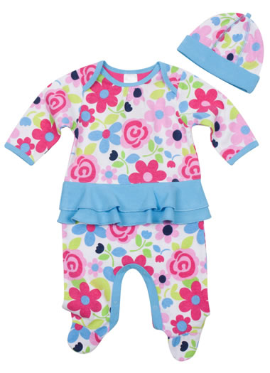 Baby Jockey™ Floral Skirted Onesie with Cap (1 of 1)