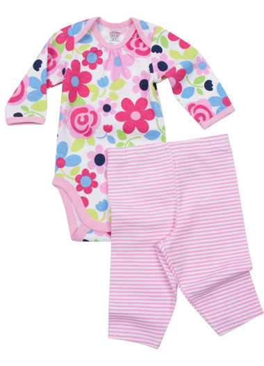 Baby Jockey™ Floral Bodysuit with Stripe Legging (1 of 1)
