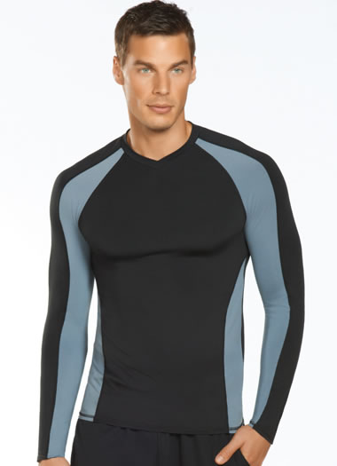 Jockey® Long Sleeve Color Blocked Sport V-Neck (1 of 1)