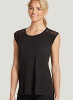 Keep it cool with the Jockey Mesh Trim Muscle Tee. This cutoff top features a split dropped back hem for extra coverage with comfortable movement. Mesh panels and lightweight fabric offer lasting breathability and a scoop-neck design provides a relaxed fit.